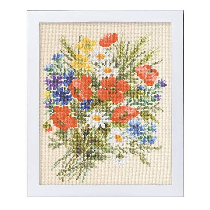 Olympus lụa cross stitch thêu kit vườn mềm hoa thêu số lượng mùa hè popy màu be 7282