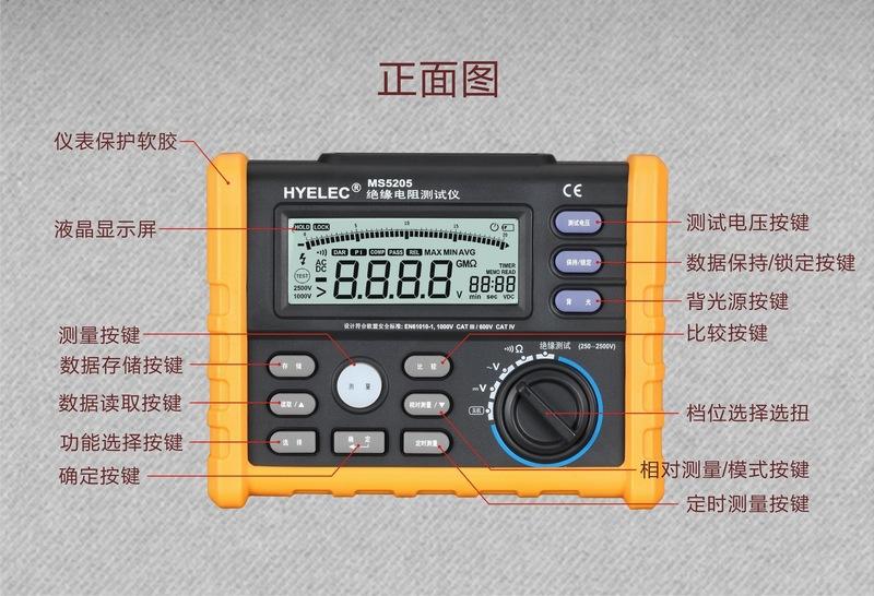 PEAKMETER Hoa Nghị huynh MS5205 kháng cách nhiệt máy đo điện bàn con số nghìn tỷ euro lắc đồng hồ