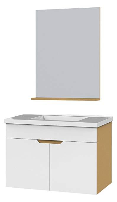 Bộ tủ sang trọng cho phòng tắm bằng gỗ cứng nhiều lớp màu trắng (có gương) rộng 800mm (không có vòi)