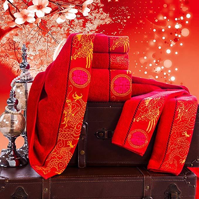 Trà bằng gỗ lớn màu đỏ bông đám cưới khăn bao gồm khăn quà tặng hộp khăn khăn vuông khăn sáu mảnh và