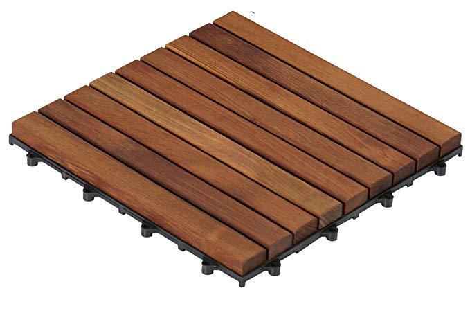 Bare Decor EZ-Sàn gỗ tếch tinh khiết, chỉ có 1 TILE, thanh dài