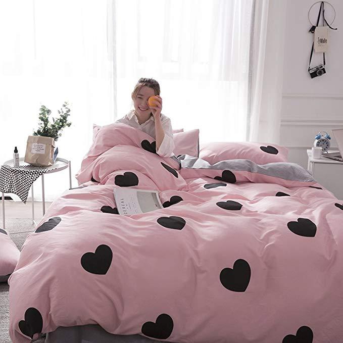 Mới IKEA giường Mỹ đơn giản bốn bộ bông 40 13376 vải [10 màu sắc tùy chọn] phong cách mục vụ in kỹ t