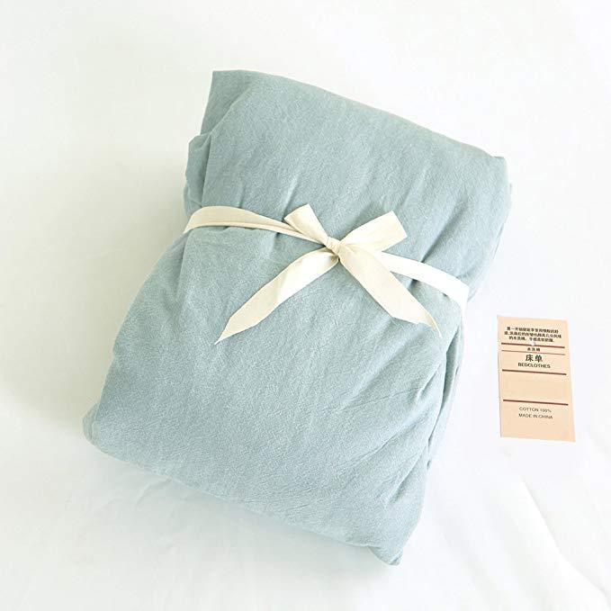 Bộ đồ giường tốt kiểu Nhật Bản Jeanpop Bộ khăn trải giường bằng vải cotton màu trắng được rửa sạch b