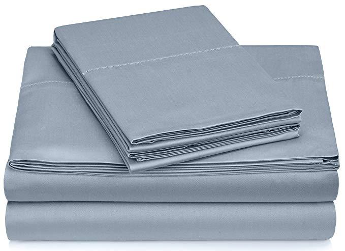 Pinzon Hemstitch 400TC Cotton Ai Cập Sateen Sheet Set, King, Smokey Blue