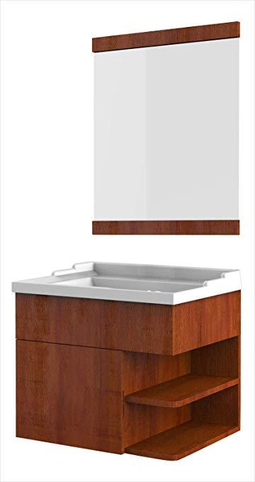 Bộ tủ sang trọng cho phòng tắm bằng gỗ sồi hạt dẻ (có gương) rộng 600mm (không có vòi) ERV52627W-Q-T