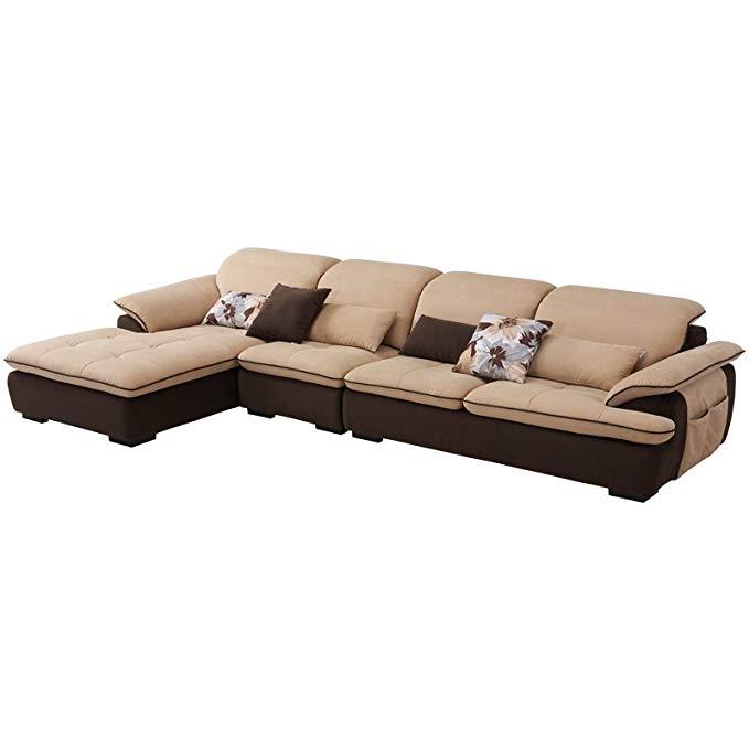 ZUOYOU Bộ Ghế sofa vải chaise kiểu L , thiết kế sang trọng .