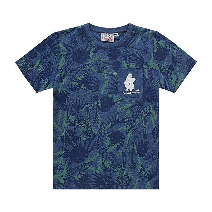 MOOMIN Mummin Trẻ Em Nhập Khẩu của Mặc Cậu Bé Ngắn Tay Áo T-Shirt Bé Vòng Cổ In Boy T-Shirt Trẻ Em c