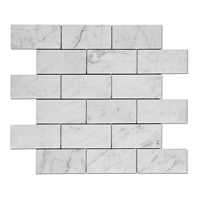 Diflart ý trắng carrara đá cẩm thạch gạch mosaic đánh bóng, 5 tờ / hộp