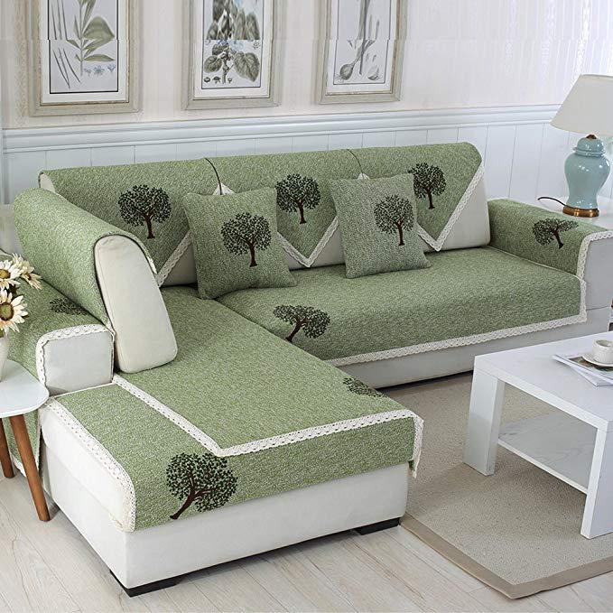 S-EMIGA Shangmeijia cotton và linen sofa đệm cotton non-slip mat gió đơn giản sofa khăn (90 * 120 cm