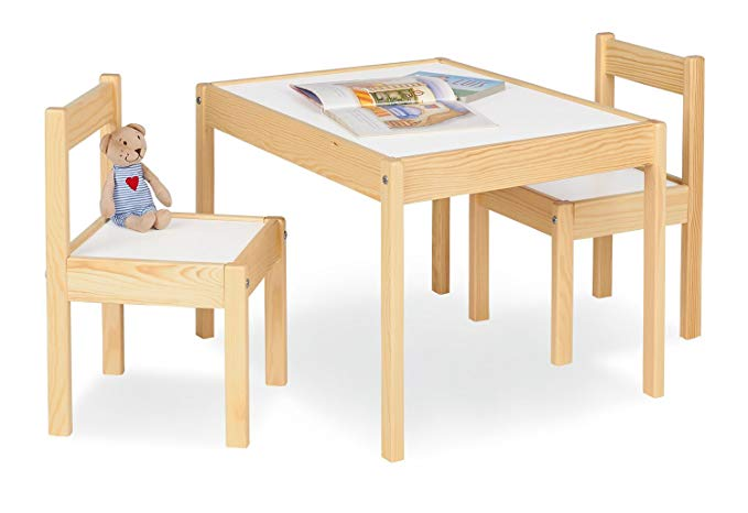 Pinolino - Bộ Bàn ghế bằng Gỗ nhỏ dành cho trẻ , kích thước bàn: 64 × 50 × 46 cm, kích thước ghế 28