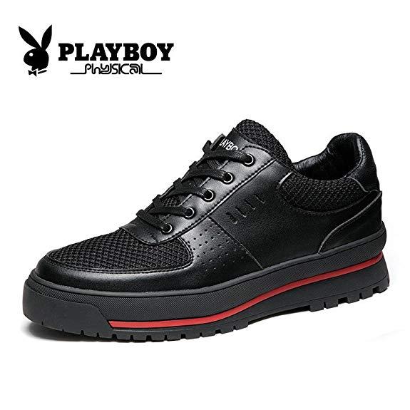 Giày da nam màu đen, vải lưới thoáng khí PLAYBOY