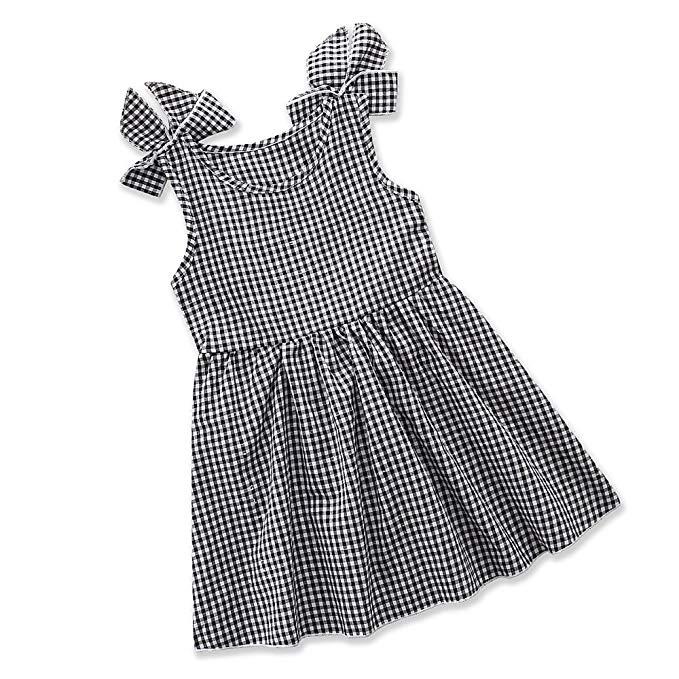 Samgami bé trẻ em châu Âu và Mỹ mùa hè mới cô gái ăn mặc không tay kẻ sọc màu đen và trắng in váy vá