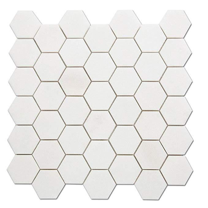 Diflart trắng lông cẩm thạch hình lục giác khảm phòng tắm và nhà bếp gạch, 5 tờ / hộp