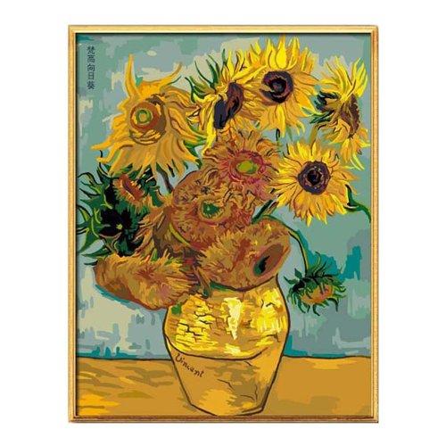 EMIT Yimeite cotton canvas vẽ kỹ thuật số khung gỗ dày 40 * 50 cm DIY Van Gogh painting-Hướng Dương