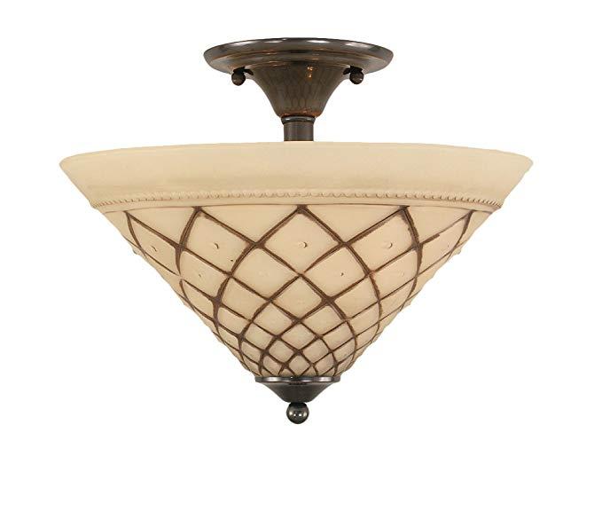 Toltec chiếu sáng 121-BC-718 Hai bóng đèn Semi-Flush Mount Black Copper Kết thúc với Chocolate Icing