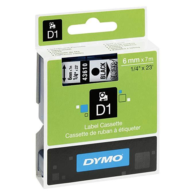 DYMO Delta nhãn máy ribbon 43610 6 mét trong suốt dưới màu đen từ D1 sticker giấy