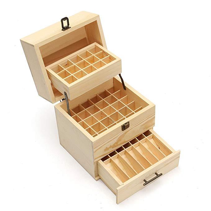 Tinh dầu hộp gỗ đa khay lưu trữ giá, 3 lớp 59 ngăn container hộp lưu trữ 5-15 ml cơ bản hộp chai dầu