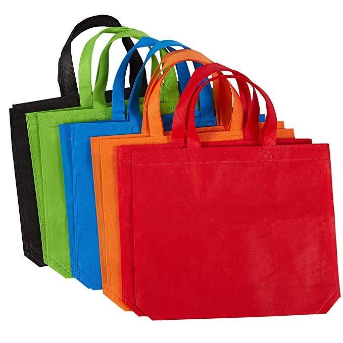 10 Túi Quà Tặng Tote-Không dệt Đảng Gift Bag, tái sử dụng Túi Hàng Tạp Hóa, 5 màu sắc, 14.86x12,5 in