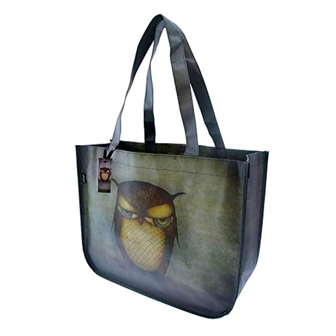 Santoro London Grumpy Owl dệt túi mua sắm
