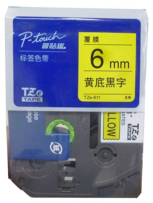 Brother Brothers TZe-611 băng nhãn màu vàng-đen (8 m) (dành cho PT-18Rz 1010 1280 2030 2100 2430PCz