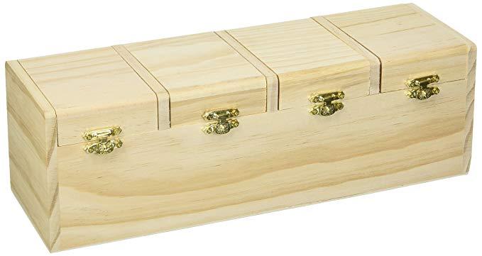 Hộp gỗ Darice có nắp có bản lề, không được đánh bóng, 31,12 x 10,16 cm