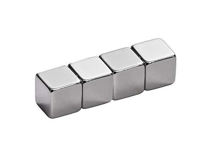 Alco-Albert 7058A27 - Nhíp nam châm Neodym, mạ crôm, 4 miếng trên thẻ nhựa trong, 1 x 1 cm