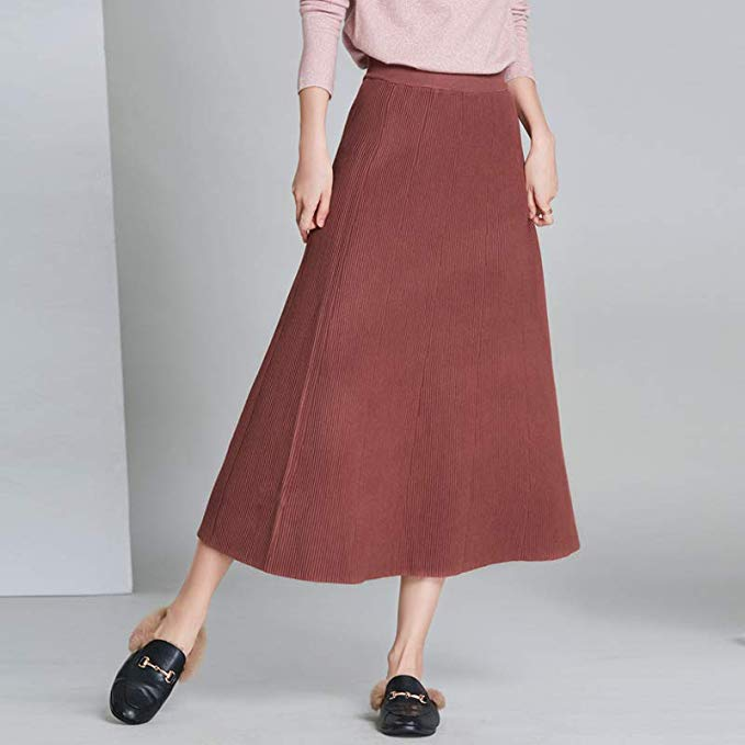 Thời gian để biết hương vị váy mùa thu nữ 2018 mới Hàn Quốc phiên bản của thời trang cao eo đan tron