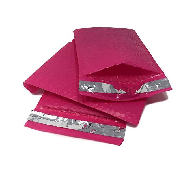 Shop4Mailers 8.5 x 11 Túi bong bóng Polyethylene màu hồng Ziplock Envelope 100 Pack Pink.