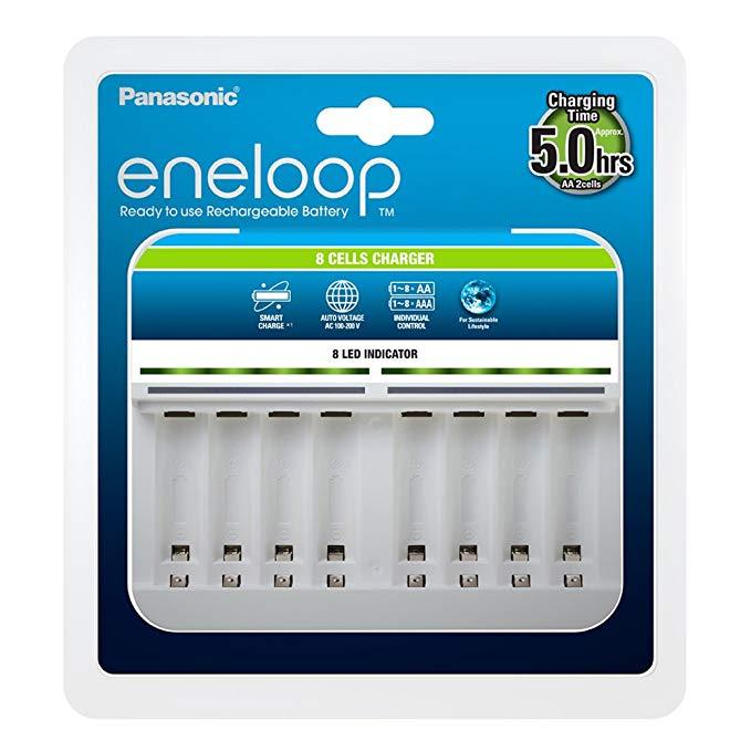 Panasonic Panasonic eneloop, bộ sạc cao cấp thông minh cho 1-8 pin nickel-metal hydride AA / AAA