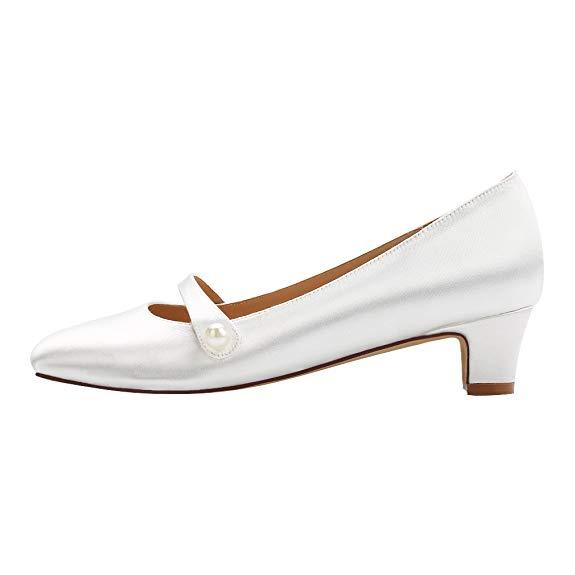 ERIJUNOR  - Giày Cưới cho cô dâu : giày búp bê gót Thấp  .
