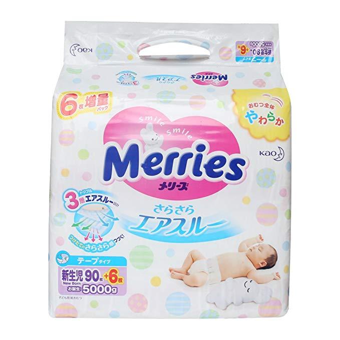 Tã lót sơ sinh NB96 (thích hợp cho 0-5kg)  nhập khẩu từ Nhật Bản Hiệu MERRIES