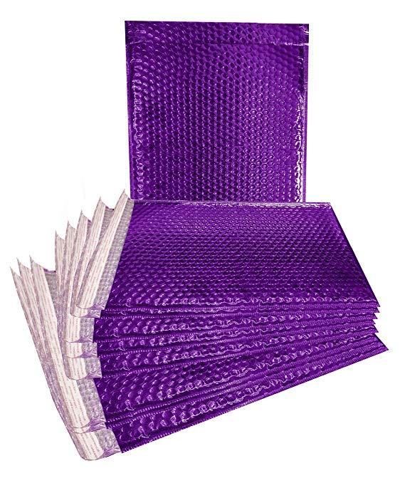 10 túi bong bóng kim loại nạp 30,48 x 43,18 cm. Phong bì dày màu tím 30,48 x 43,18 cm. Túi bong bóng