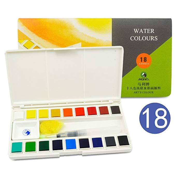 Màu nước sơn 12 18 24 màu sắc thiết lập nghệ thuật sơn mới bắt đầu màu nước sơn bộ (18 màu rắn màu n
