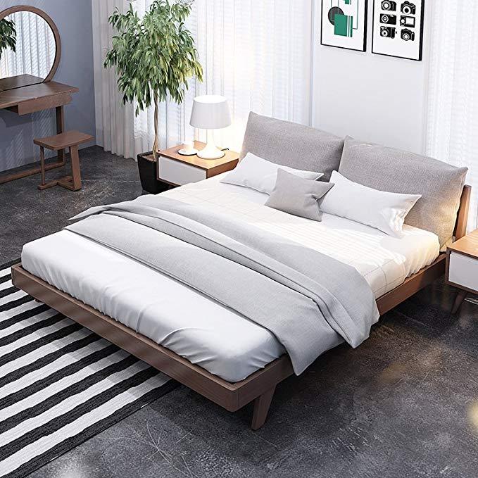 Zhongda Bangsheng - nội Thất gỗ rắn giường Ngủ Gỗ cao su Nhật Bản phong cách đơn giản