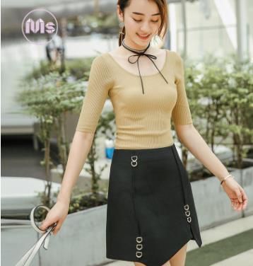 Váy đen xếp lớp màu đen thời trang Hàn Quốc MEIZLENS