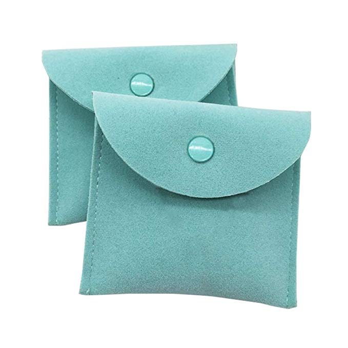 Vinerstar 2 mảnh da lộn đồ trang sức túi với nút snap màu xanh bạc hà 3 * 3 inch 9