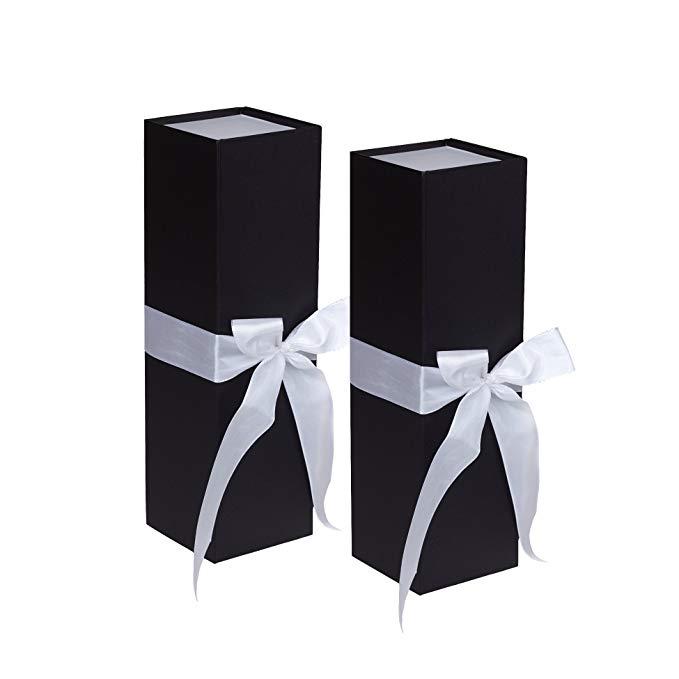 Jillson Roberts 2 Gói * Chai Hộp quà tặng 3 màu có sẵn, màu đen mờ với dải ruy băng trắng Ribbon-Tie