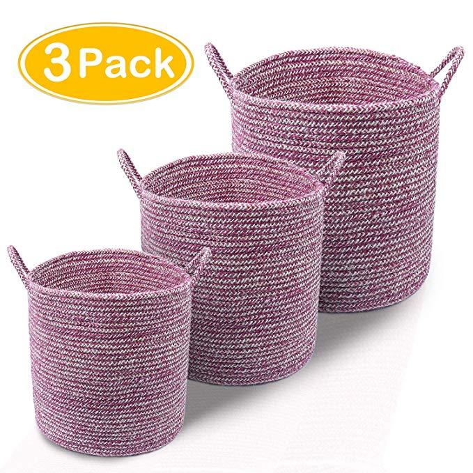 LOCHAS sợi tự nhiên dệt giỏ lưu trữ dệt bằng tay có thể gập lại túi tote bụng giỏ với dây xử lý cho