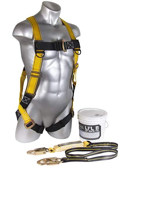 Guardian Fall Protection 00870 Li'l Bucket của Safe-Tie với HUV, Shock Absorbing Lanyard và Red Nyl