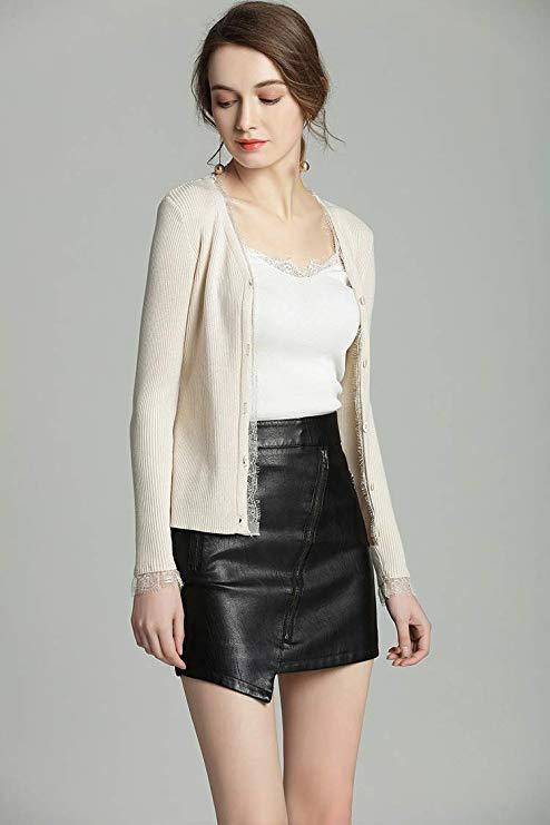 Hàng dệt kim nữ Cardigan ren Slim Slim dài tay áo Top V-cổ áo đơn giản mới L-M8866