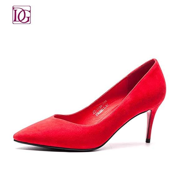 Giày cưới cho cô dâu : giày búp bê cao gót da Lộn màu Đen , Đỏ .