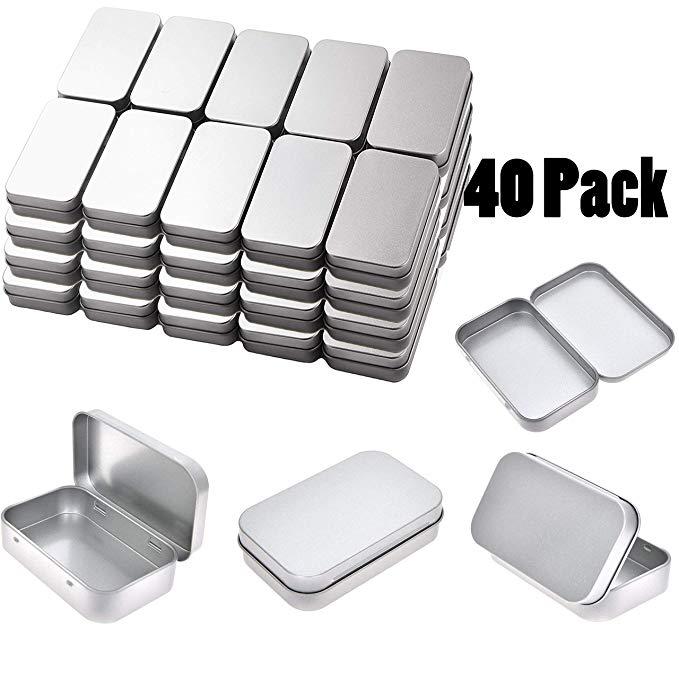 Tamicy kim loại hình chữ nhật rỗng bản lề thiếc - 40 bạc nhỏ mang trường hợp hộp lưu trữ nhỏ và gia