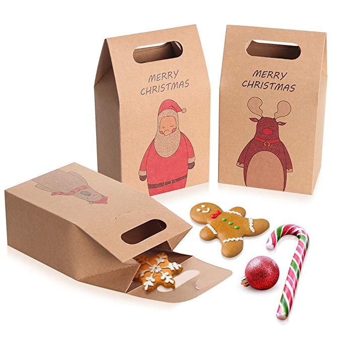 Coogam 12 miếng nâu kraft giấy, bánh Giáng sinh và kẹo túi- Santa tuần lộc dễ thương gấu christmas h