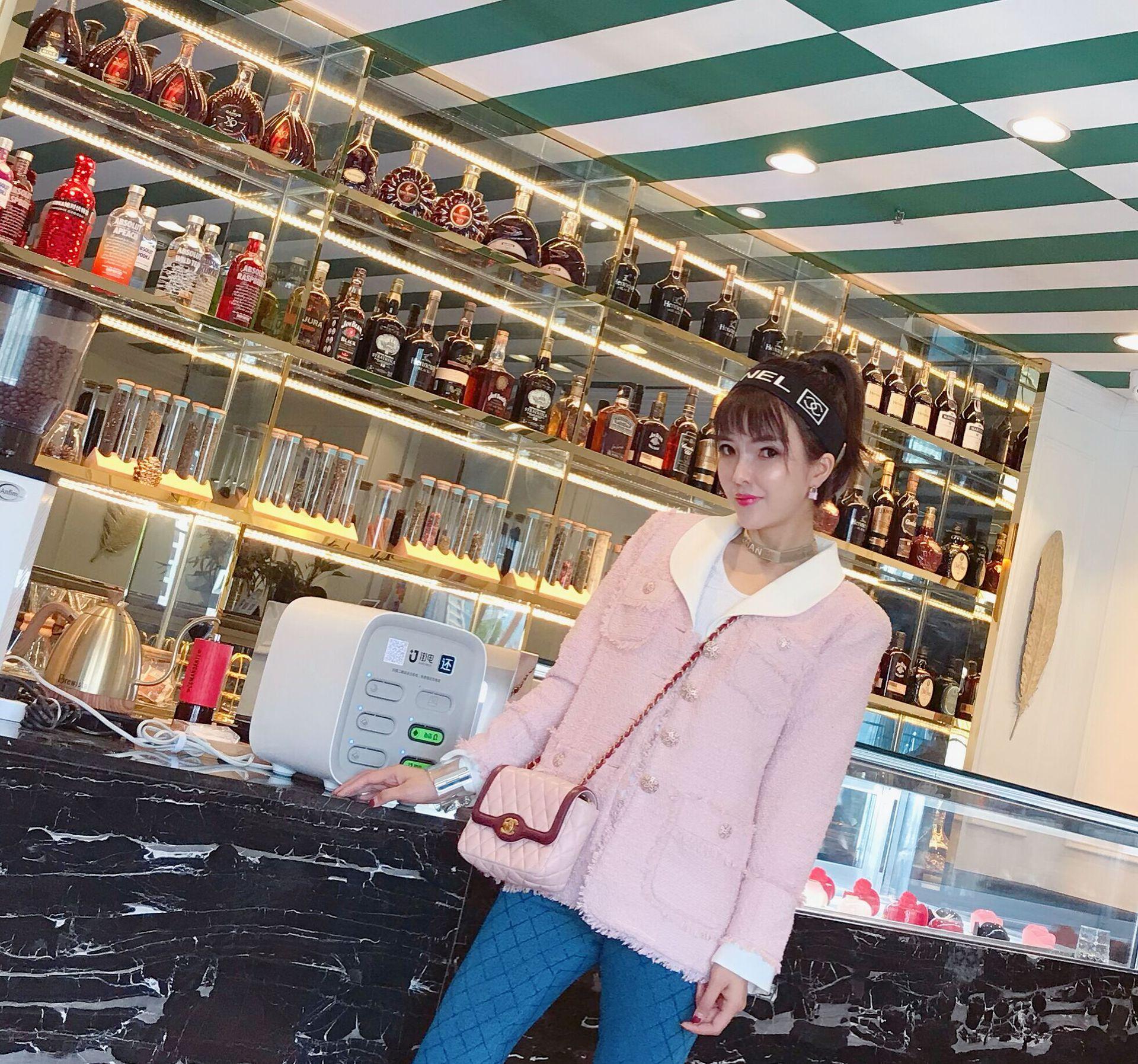 Áo khoác len hồng cổ rộng cho nữ