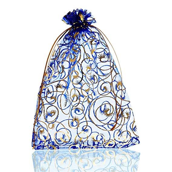 Organza Jewelry Bag Wedding Party món quà Giáng sinh túi lụa 25 peças màu sắc: Royal Blue