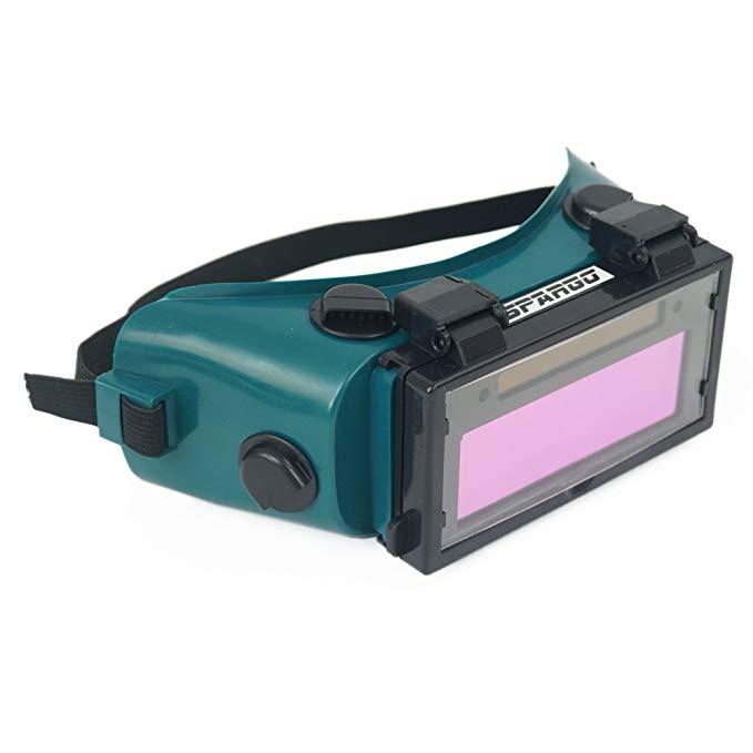 Spargo tự động thẫm màu LCD hàn mũ bảo hiểm mặt nạ hàn năng lượng mặt trời * kính gas lật ống kính