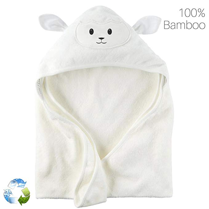 Hữu cơ tre bé khăn trùm đầu với khăn | Siêu mềm siêu thấm Toddler trùm đầu khăn với dễ thương cừu FA