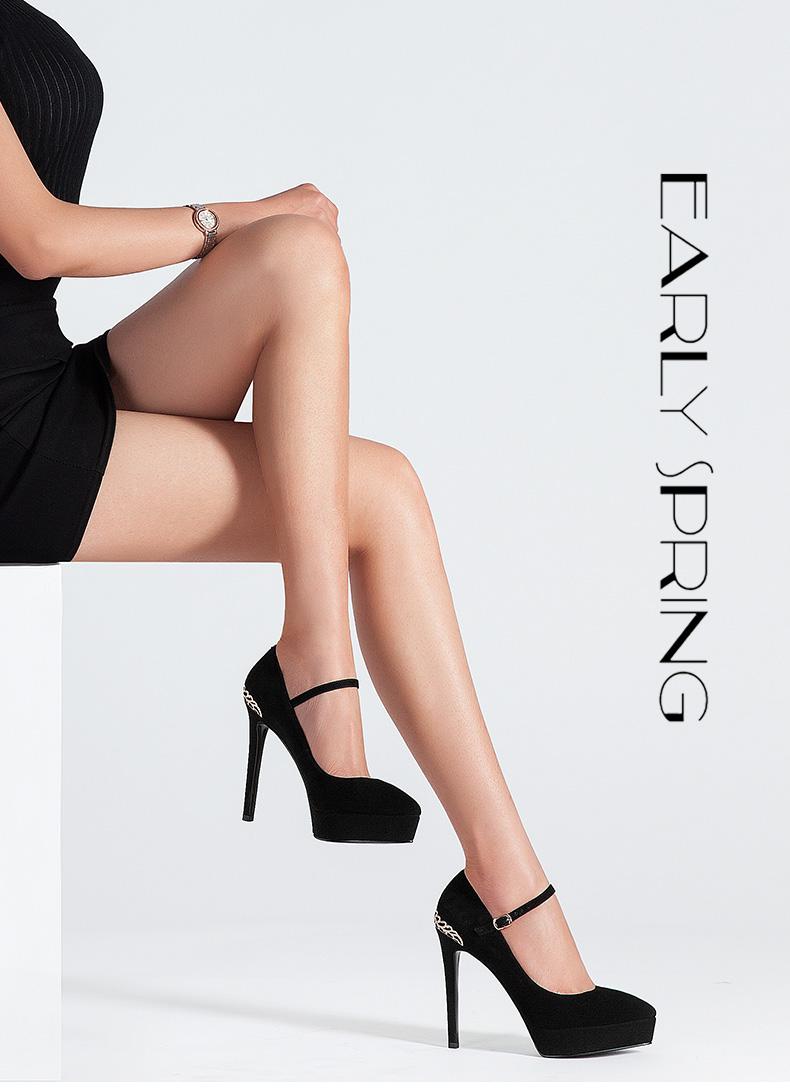 Giày cao gót nhung đen nữ kiểu dáng thời trang