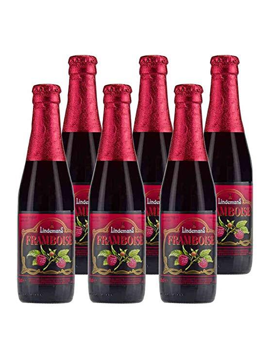 Lindemann Bỉ nhập khẩu bia Lindemans Lindeberry Raspberry 250ml * 6 chai bia Lady trái cây bia