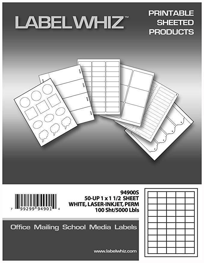 Nhãn dán nhãn đa chức năng cho máy in laser và máy in phun, 2,54 x 3,81 cm, 50 tờ, 100 tờ, trắng (94